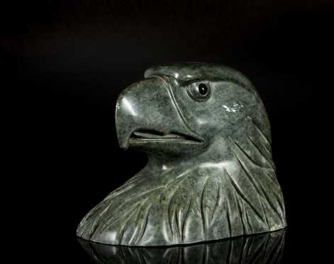 Inuit Carved Soapstone Eagle Head