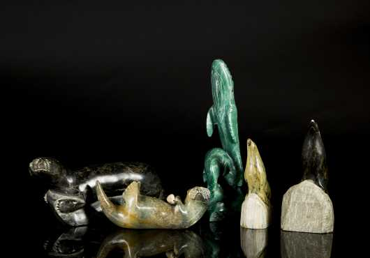 Lot of Five Inuit Carved Soapstone Animals