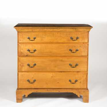Rhode Island Tiger Maple Four Drawer Chest