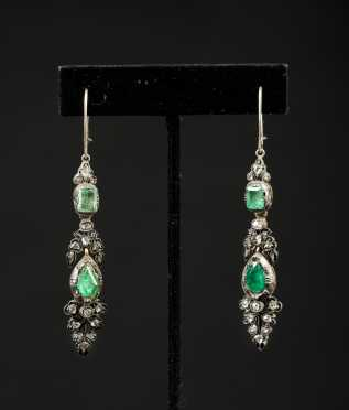 Edwardian Emerald and Rose Cut Diamond Drop Earrings