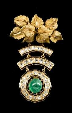 Buccellati 18k Yellow Gold, Emerald, Diamond and Enamel Brooch