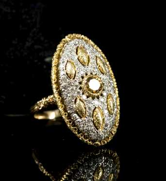 Oval Yellow Gold Diamond Ring