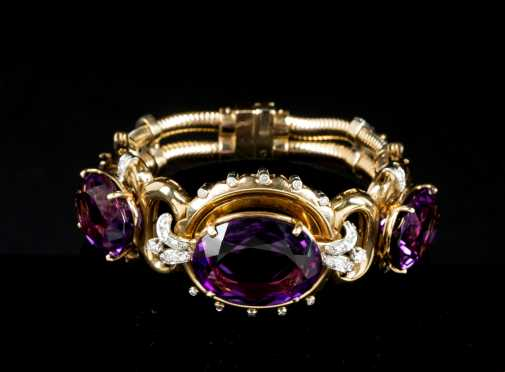 Amethyst and Diamond Yellow Gold Bracelet