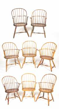 Assembled Set of Eight Windsor Armchairs