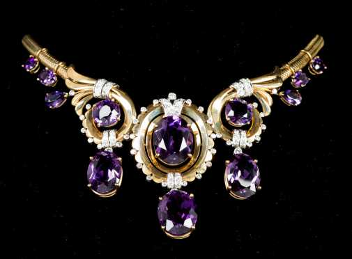 Amethyst and Diamond Yellow Gold Necklace