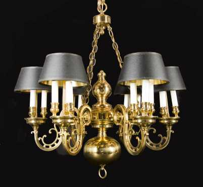 Brass 20thC Chandelier with Six Lights