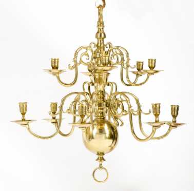 19thC Dutch Brass Two Tier Chandelier