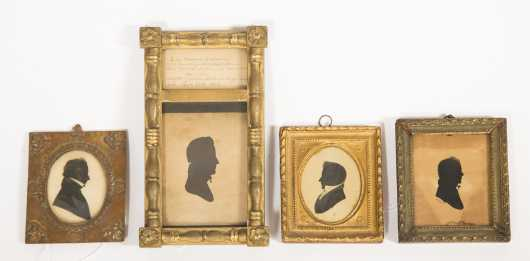 Lot of Four Silhouettes of E19thC Gentlemen
