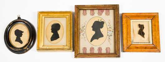 Lot of Four 19thC Female Silhouettes