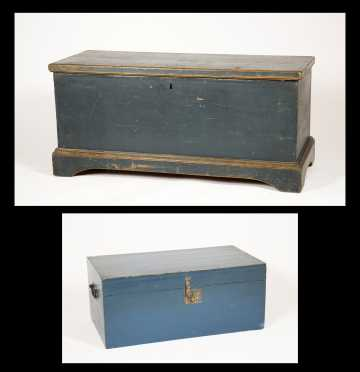 Two Blue Painted Blanket Boxes/ Chests