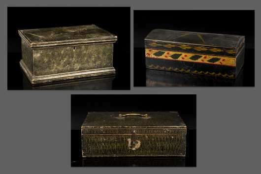 Three Paint Decorated Valuable Boxes