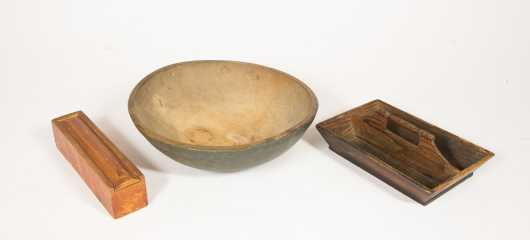 Three Paint Decorated Kitchen Woodenware