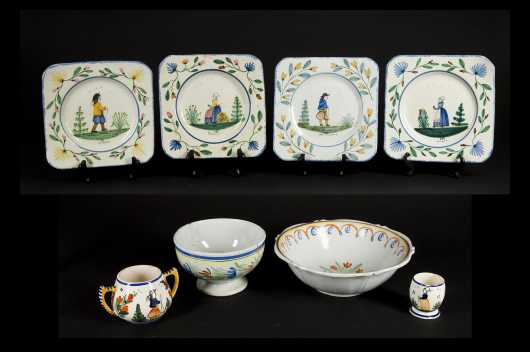 Lot of Eight Pieces Henriot Quimper Pottery