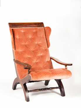 French Mahogany Campeche Armchair with Side Wings