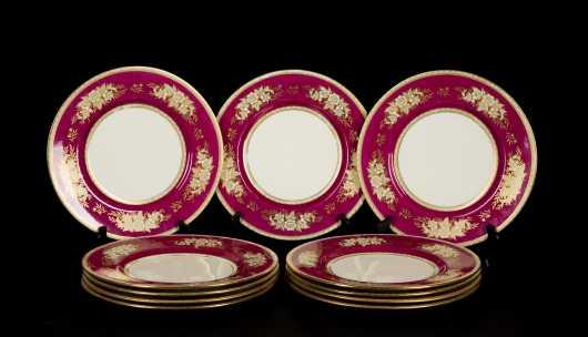 "Set of Twelve ""Minton"" 10 1/2"" Diameter Plates"