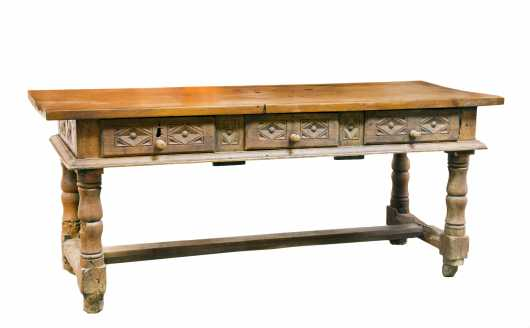 17thC French 6' Long Refectory Table with Medial Stretcher