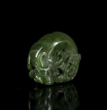 Chinese Carved Green Jade Scholars Weight