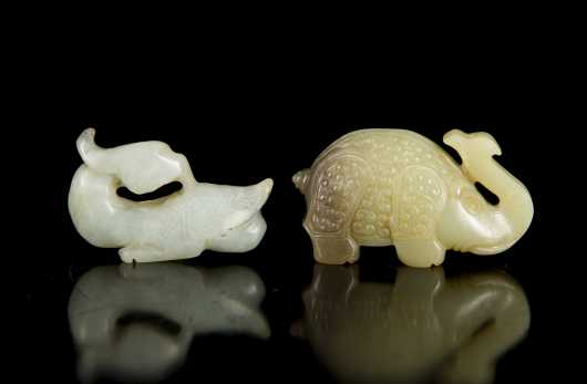 Chinese Carved Jade Elephant and Duck