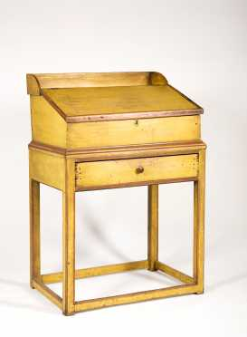 Yellow and Red Painted Pine School Master Desk