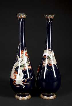 Three Japanese High Quality Cloisonne Vases