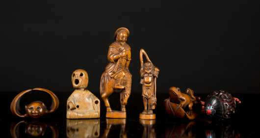 Six Japanese/ Chinese Wood Carvings