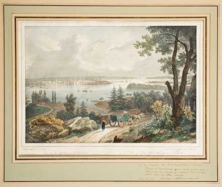 Antique 1826 Hand Colored French Litho, View of NY,, Insc. to J.D. Rockefeller