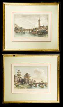 Pair of Hand Colored Prints from Alloms China