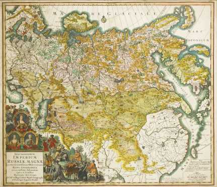 Matthaus Seutter, Hand Colored Map of Russia, c. 1732