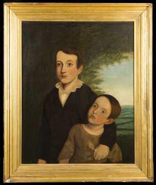 19thC Primitive Portrait of Two Children