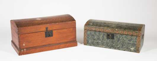 Two Paint Decorated Dome Top Boxes