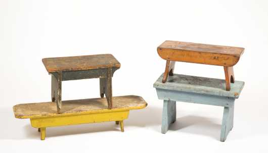 Four Painted Footstools