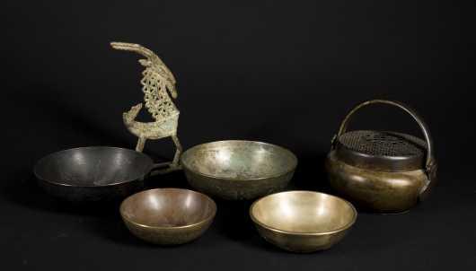 Six Tibetan / Asian Bronze Items