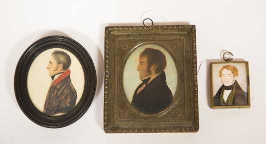 Lot of Three Primitive Miniature Watercolors of Young Men