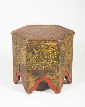 Early Tibetan Gold Hexagonal Table