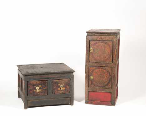 Two Early Tibetan Decorated Cabinets