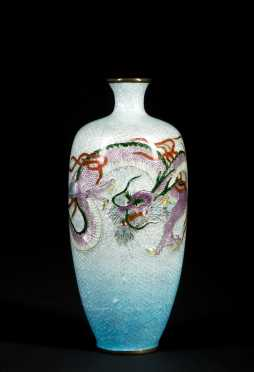 Japanese Ginbari Cloisonne Enamel Dragon Vase