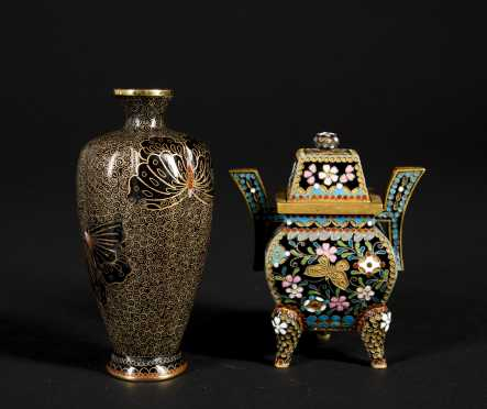 Two Japanese 20thC Cloisonne Pieces