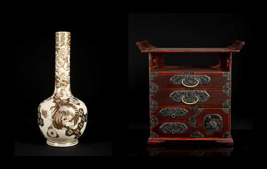 Modern Korean Miniature Chest and Satsuma Vase