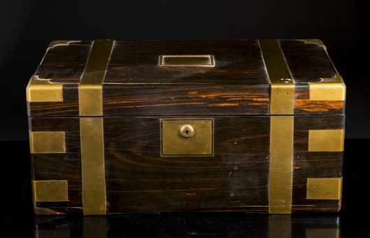 English Mahogany Brass Bound 19thC Traveling Desk