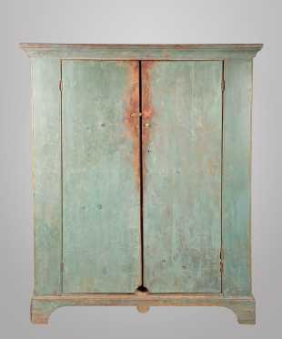 Blue Painted Two Door Bracket Base Cupboard