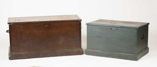 Two E19thC Blanket Boxes, One in Blue Paint