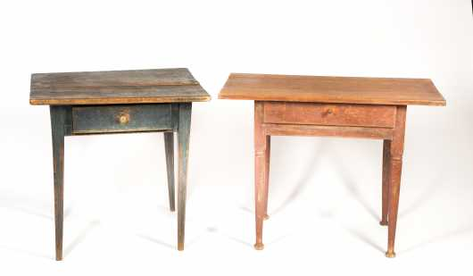 Two American Painted Tap Tables with Drawers