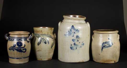 Four Stoneware Handled Crocks