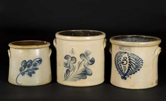 Lot of Three Stoneware Crocks with Blue Decoration