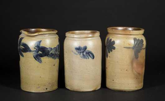 Three Stoneware Jars with Blue Feather Decoration