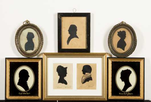 Lot of Seven Silhouettes, Three Pairs