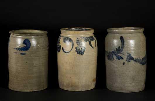 Three Blue Decorated Two Gal Storage Crocks