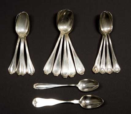Three Sets of Sterling Silver Teaspoons