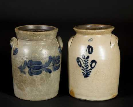 Lot of Four Blue Decorated Stoneware Crocks