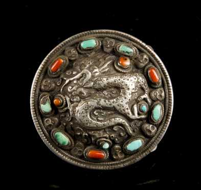Tibetan Silver and Stone Belt Buckle
